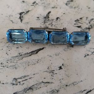 Vintage Light Blue Rhinestone Silver Tone Bar Broo